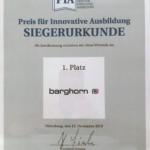 Urkunde Preis für Innovative Ausbildung 2019